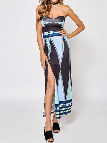 Sexy Geometric Print Splitted Strapless Women Maxi Dress