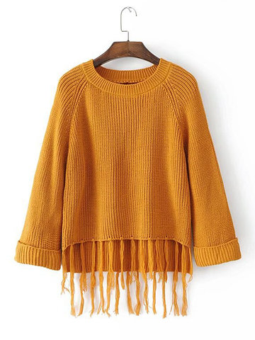 Brinquedos soltos Loose Solid Color Tassel Women Sweaters
