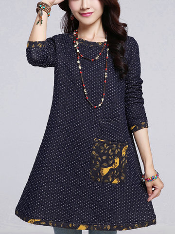 Casual Polka Dot Printed Patchwork Cotton Thicken Mini Dress For Women