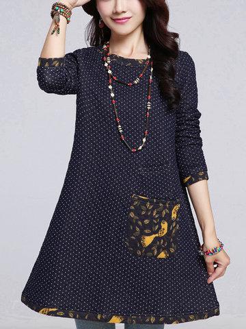 Повседневная Polka Dot Печатная миниатюрная мини-платье с хлопчатобумажным хлопком для женщин