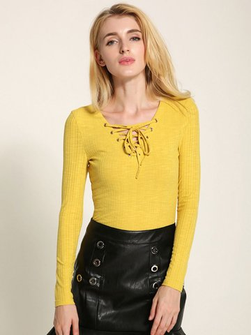 Lztlylzt Frauen Casual Knitting Cross Strap V-Ausschnitt Langarm Tops