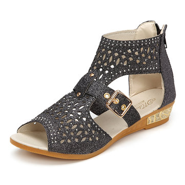 Peep Toe Rhinestone Hollow Out Wedges Zipper Roman Sandals
