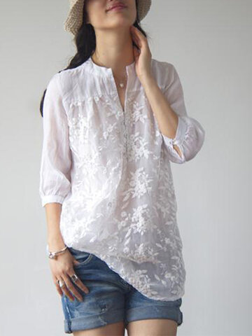 Elegant Women Solid Color Embroidery Organze Shirts
