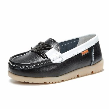 Children Leather Slip On Loafers Soft Sole Flat Casual Shoes