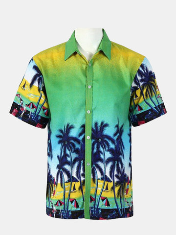 Mens Summer Hawaii Coconut Tree Printing Casual Quick dry Short Sleeved Beach Shirts