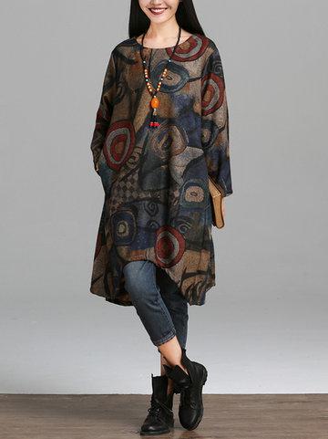 O-NEWE Robe Vintage Irrégulière en Daim À Imprimé Géométrique Col Rond Avec Écharpe Pour Femme