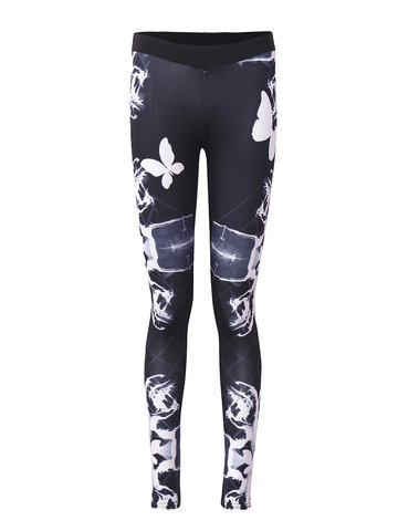 Women Butterfly Printed Casual Active Fitness Leggings