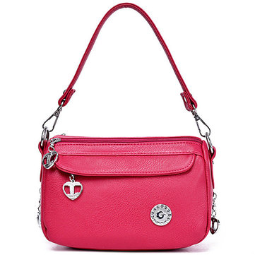 Women Handbag Heart-shaped Zipper Bag Satchel Sling Bag