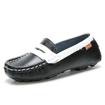 Unisex Children Slip On Leather Loafers Comfortable Round Toe Moccasins
