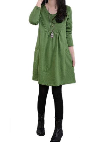Краткая сплошная повседневная свободная длинная рукава O шеи Карманное платье для женщин