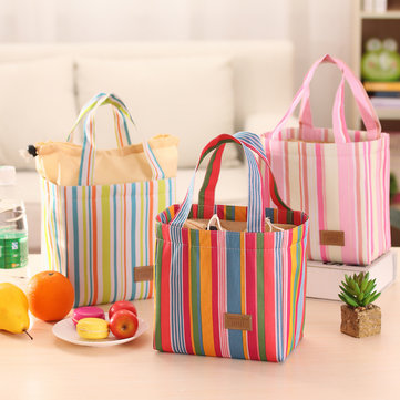 SaicleHome Drawstring Lunch Tote Bag Portable Picnic Cooler Insulated Handbag Food Storage Container