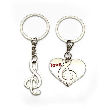2 pcs Sweet Heart Heart Music Alloy Keychain