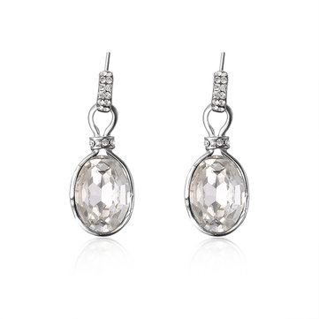 Elegant Women Earrings Oval Crystal Rhinestone Earrings