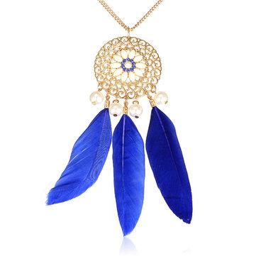 Богемианский полый цветок перо Перл ожерелье