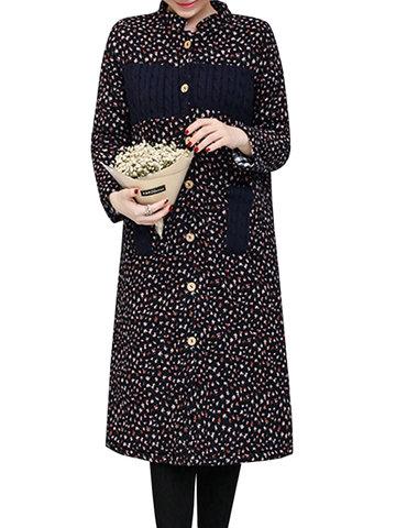 Femmes Manteaux imprimés floraux imprimés à manches longues et épais et épais