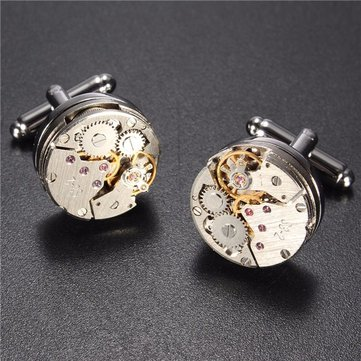 Men Watch Pattern Silver Cufflinks Mechanical Bare Wedding Gift Suit Shirt Accessories