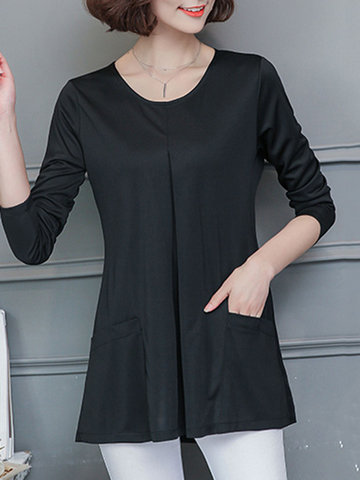 Loose Pocket Long Sleeves O Neck Shirt