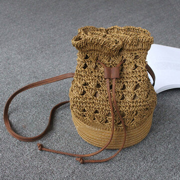 Hollow Out Paper Yarn Bucket Bag Shoulder Bags