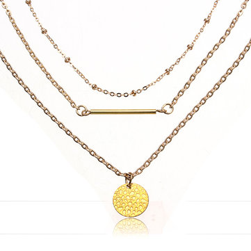Gold Handmake Multilayer Chain Strip Necklace