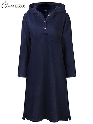 O-NEWE Плюс Размер Женщины Повседневная сплошной цвет с капюшоном Кнопка Загущенное платье