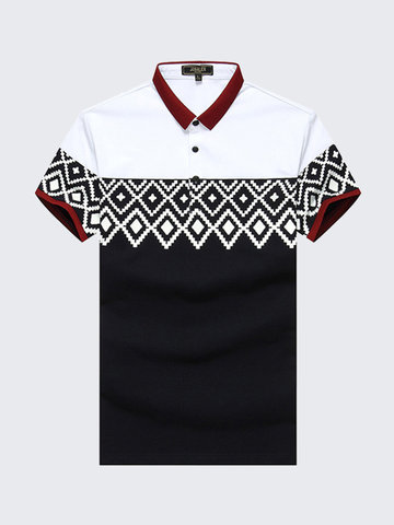 Buy Spring Mens Geometric Patterns Patchwork Turndown Collar Business Casual Cotton T Shirts