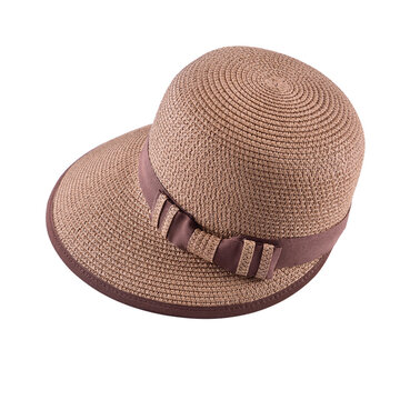 LYZA Women Summer Bowknot Wide Brim Floppy Straw Hat Sunscreen Bohemia Beach Cap