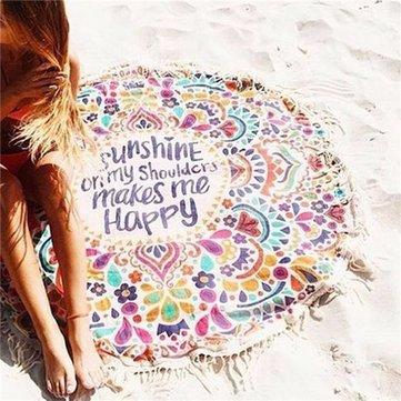 Women Printing Tassel Beach Towel Yoga Mat Sunscreen Shawl Scarves & Wraps