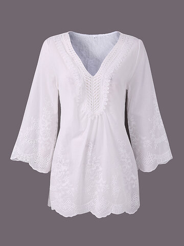 Solid Embroidery Lace Patchwork Half Sleeve Women T-Shirts