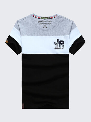 AFSJEEP Mens Summer Hit Color O-neck Short Sleeve Casual Cotton T-Shirt
