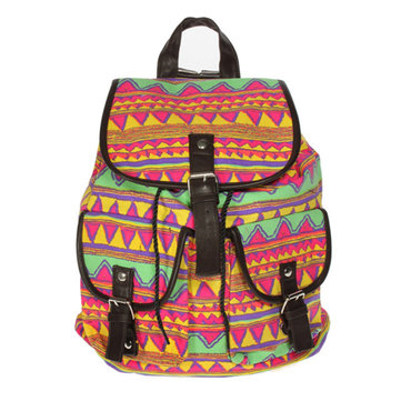 Retro Women Casual Floral Print Canvas Backpack