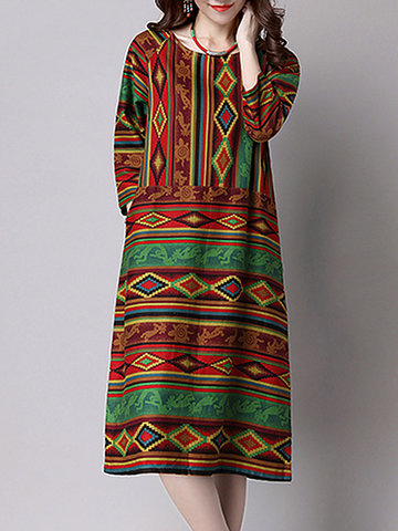 Vintage Women 3/4 Sleeve Printed O Neck Dresses