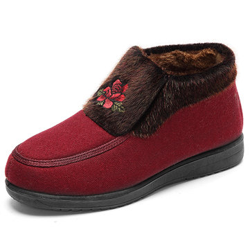 Rose Flower Ankle Fur Lining Vintage Embroidery Warm Boots