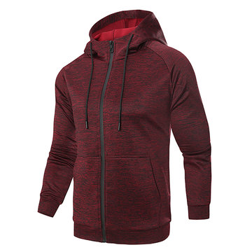 Zipper Knitted Casual Sport Hooded Tops for Men