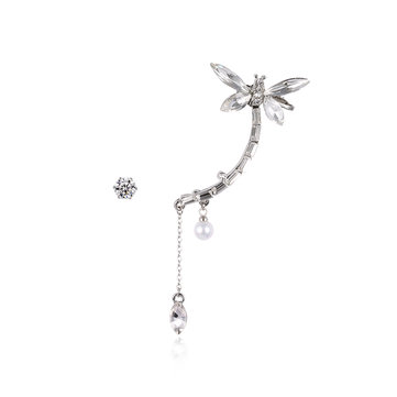 Luxury Rhinestone Earrings Butterfly Tassel Pearl Ear Clip