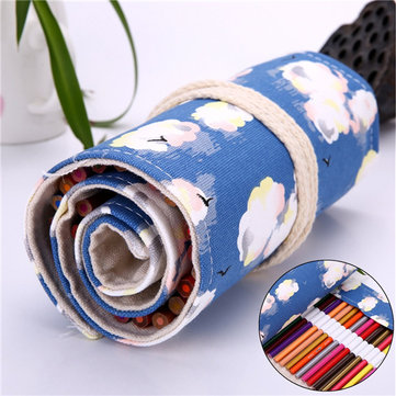 36/48/72 Holes Canvas Lovely Wrap Roll Up Pencil Case Holder Storage Pen Bag