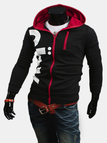 Men's Fashion Letters Printed Slim Zipper Hoodies Outwears