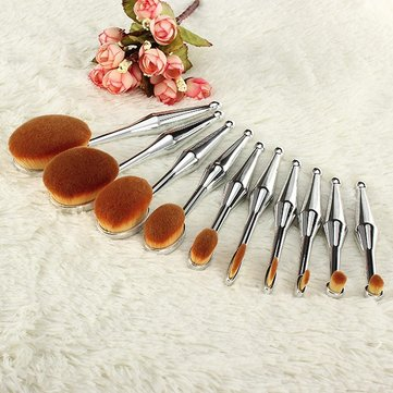 10Pcs Mermaid Oval Toothbrush Makeup Brushes Kit Powder Eyebrow Eyeliner Blush Brush