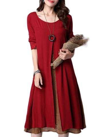 Gracila Vintage Long Sleeve Fake Two Pieces Cotton Literary Dress