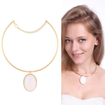 Elegant Natural Oval Powder Crystal Alloy Collar Necklace