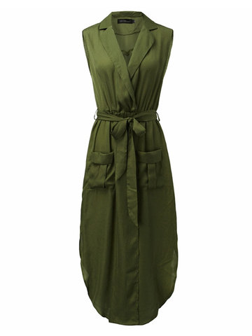 Sexy Sleeveless V Neck Belt Pockets Women Maxi Dress