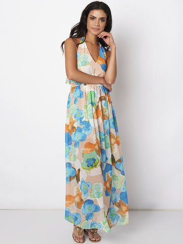 Gracila Women Spaghetti Strap V-Neck Backless Floral Printed Chiffon Maxi Dresses