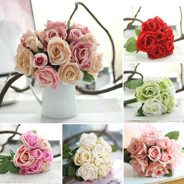 9 Heads Real Touch Rose Artificial Flowers Plants Bouquet Bridal Party Wedding Home Decor