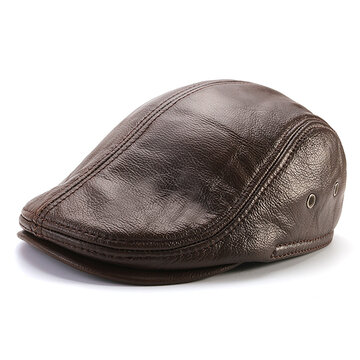 Men Genuine Cowhide With Ear Flaps Beret Hats