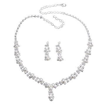 Простой свадебный полный Rhinestone ювелирные изделия искусственных жемчужина ожерелье серьги Set