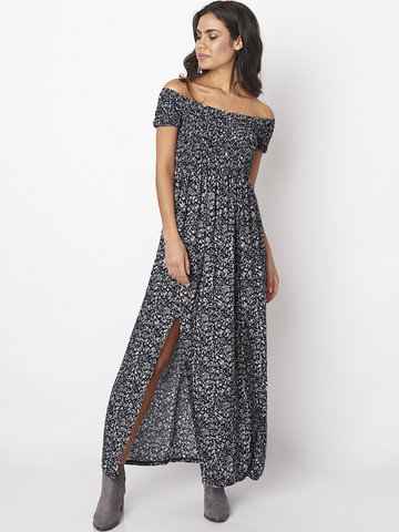 Gracila Off-shoulder Floral Print Slit Elastic Women Maxi Dress