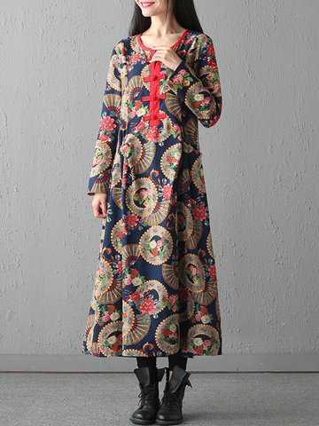 Folk Style Print Frog Button Patchwork Long Sleeve O-neck Women Dresses
