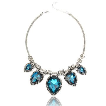 Crystal Bib Statement Charm Waterdrop Necklace