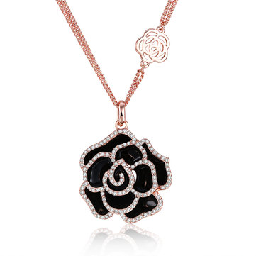 INALIS Rose Gold Plated Flowers Pendant Czech Diamond Long Necklace