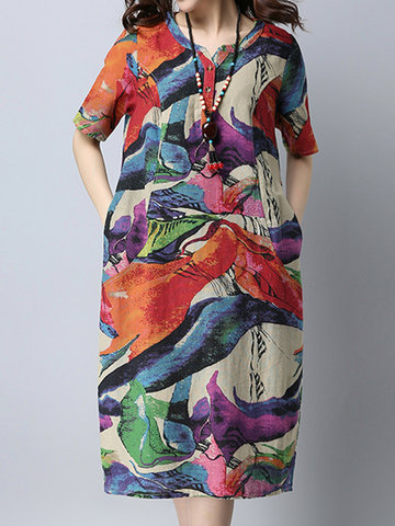 Vintage Women Printed Short Sleeve Pocket Summer Dresses