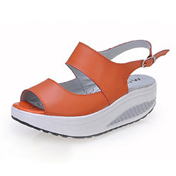 Leather Pure Color Hollow Out Peep Toe Buckle Platform Shake Shoes Sandals